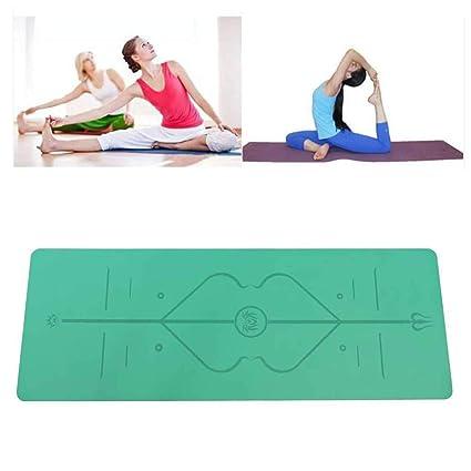 Amazon.com : Natural Rubber Body Position Line Yoga Mat Non ...