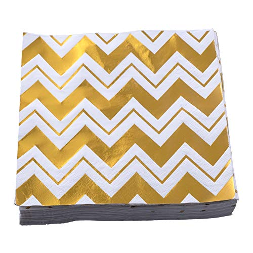Ella Celebration 100 Pack Disposable Napkins with Gold-Foil Chevron-Pattern, Tough and Durable 3-Ply, 6.5 x 6.5 inches…