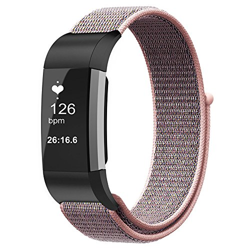 Fintie Band for Fitbit Charge 2, Nylon Sport Loop Breathable Nylon Replacement Strap Wrist Bands with Adjustable Closure for Fitbit Charge 2 HR Smart Fitness Tracker, Pink Sand