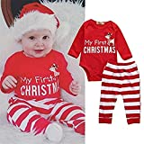 SMTSMT 2Pcs Christmas Newborn Baby Girls Boys Outfits Clothes Deer Romper Pants Set (6-12 Months, Red)