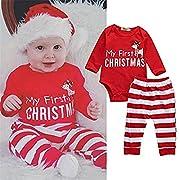 SMTSMT 2Pcs Christmas Newborn Baby Girls Boys Outfits Clothes Deer Romper Pants Set (0-3 Months, Red)