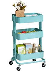 TUKAILAI 3 Shelves Kitchen Trolley Stainless Steel with wheels