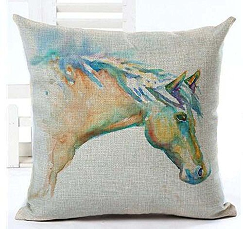Oil Painting Horse Hand Painted Throw Pillow Case Cotton Blend Linen Cushion Cover Sofa Decorative Square 18 Inches(5) ¡ (8) -