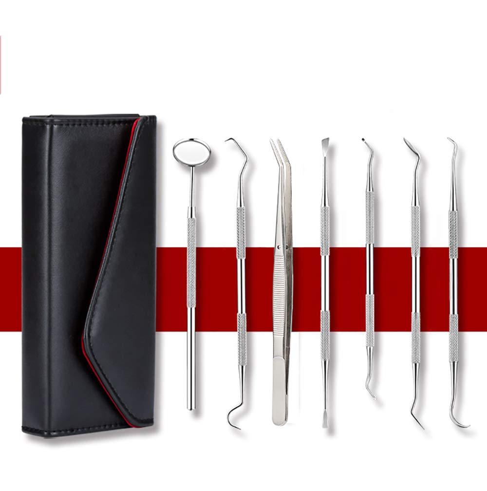 ZUEN 6-Pcs Plaque Remover, Stainless Steel Dental Hygiene Pack with Tooth Scraper Tartar Dental Scaler Tweezers Mouth Mirror Dental Tools Kit