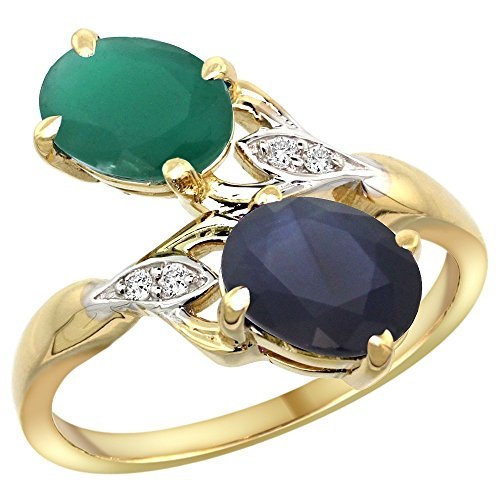 10K Yellow Gold Emerald & Blue Sapphire 2-stone Mother's Ring Oval 8x6mm Diamond Accents, 3/4 inch wide, size (Emerald Cut Yellow Sapphire)