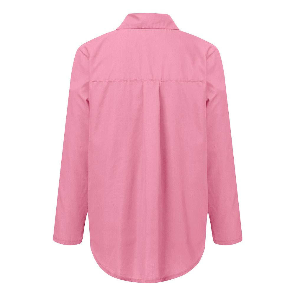 Womens V-Neck Casual Shirt,Ladies Turn Down Collar Long Sleeve Button Plus Size Pockets Solid Blouse Loose Tunic Top