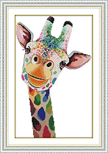 eGoodn Stamped Cross Stitch Kit with Printed Pattern Colorful Cartoon Giraffe 11ct Fabric 14.2 inches by 20.5 inches, Frameless Cross-Stitching Needlework
