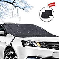 Car Windshield Snow Cover?600D Waterproof Windshield Cover for Ice and Snow shield, All Weather Frost Winter Cover Auto Sun Shade Protector Universal Fits Most Car Truck Van SUV with 2PCS Mirror Cover