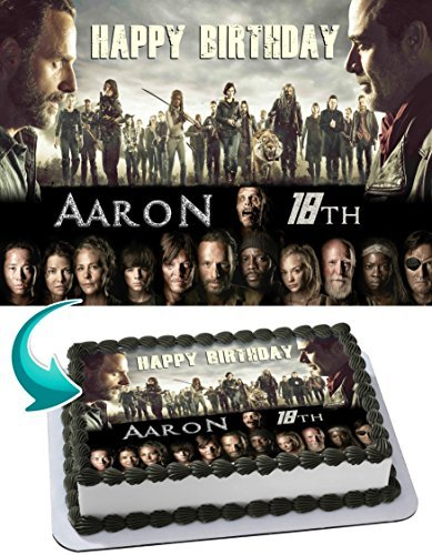 Walking Dead Edible Cake Topper Personalized Birthday 1/4 Sheet Decoration Custom Sheet Party Birthday on Wafer Rice Paper -