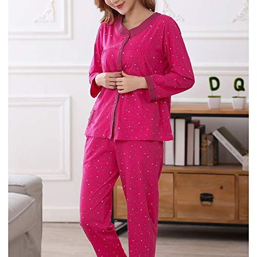 Ampio Da Lunghe Maniche Notte Autunno Donna Pj's Soft Tops In Allentato Pantaloni Print Comfort Pink Pigiama E Cotone 5YxfqExd