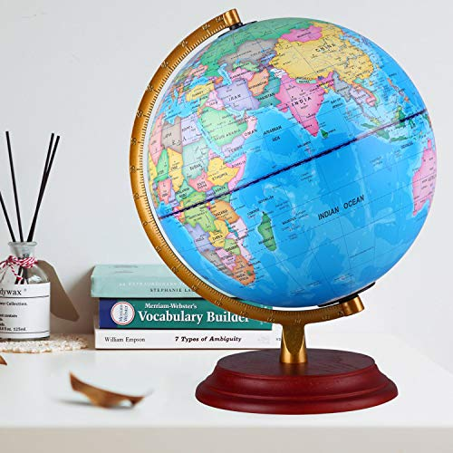 - TTKTK Illuminated World Globe with Wooden Base - Night View Stars Constellation Pattern Globe with Detailed World Map,Built-in LED Bulb, No Battery Required, Educational Gift, Night Stand Decor