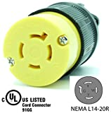 Journeyman-Pro 2413 20 Amp, 125/250 Volt, NEMA L14-20R, 3P, 4W, Locking Female Plug Connector, Black Industrial Grade, Grounding 5000 Watts Generator Rating (L14-20R Female Plug)