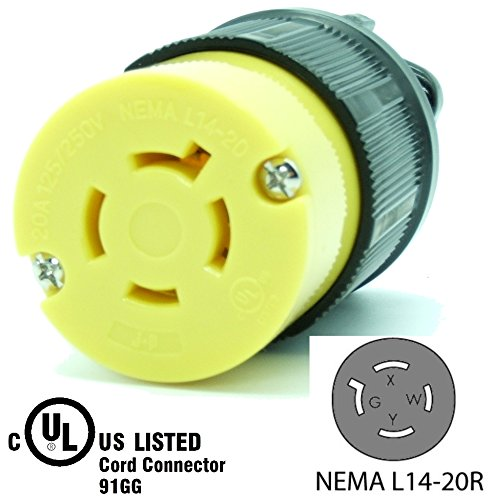 (Journeyman-Pro 2413 20 Amp, 125/250 Volt, NEMA L14-20R, 3P, 4W, Locking Female Plug Connector, Black Industrial Grade, Grounding 5000 Watts Generator Rating (L14-20R Female Plug))
