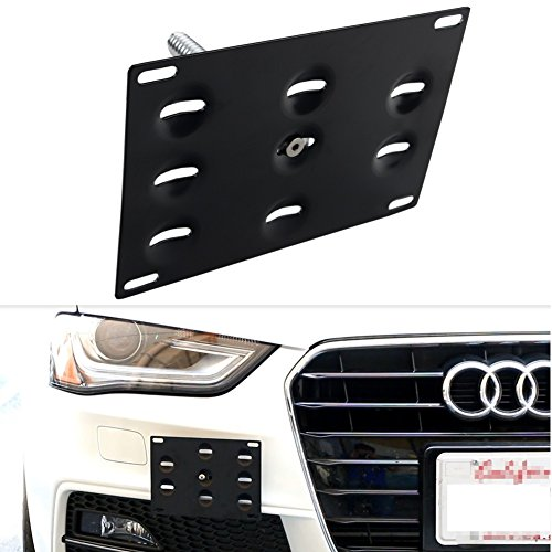 Dewhel JDM Front Bumper Tow Hook License Plate Mount Bracket Holder Audi A4/S4 09-14 B8