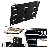 Dewhel JDM Front Bumper Tow Hook License Plate Mount Bracket Holder Audi A4/S4 09-14 B8