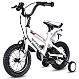 Goplus Freestyle Kids Bike Bicycle 12inch/ 16inch/ 20inch Balance Bike with Training Wheels for Boy's and Girl's (White, 12-inch)