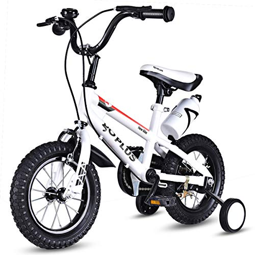 Goplus Freestyle Kids Bike Bicycle 12inch/ 16inch/ 20inch Balance Bike with Training Wheels for Boy's and Girl's (White, 12-inch) -  Superbuy, SU-570646WH-YTNEW