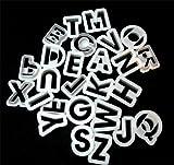 White Plastic Alphabet Cookie Cutters 1 1/2
