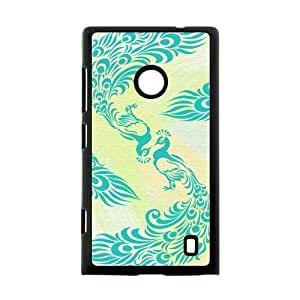 Custom Design Peacock Background Case Cover for Nokia Lumia 520- Personalized Hard Cell Phone Back Protective Case Shell-Perfect as gift