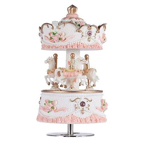- Carousel Music Boxes for Girls Women 3-Horse Rotating Windup Melody Castle in The Sky Luxury Musical Gift for Baby Kids Daughter Birthday Christmas Festival Music Box Artware Pink