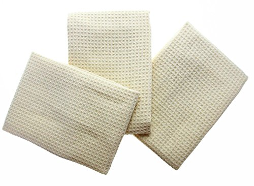 Cream Kitchen - KLEIESH Microfiber Waffle Weave Kitchen Drying Towels 3 Pack (16