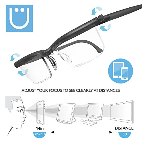 Adlens UZOOM Screen Protect (Grey) Adjustable Focus Computer Reading Glasses, Blue Light Blocking, Blue Light Filtering Digital Gaming Screen Glasses Crafting Glasses Magnifying Glass, Men and Women by UZOOM