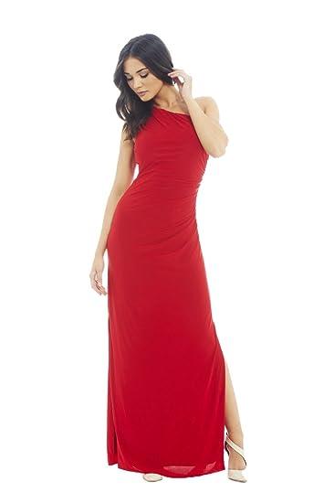 AX Paris Womens One Shoulder Leg Split Slinky Maxi Dress at Amazon Womens Clothing store:
