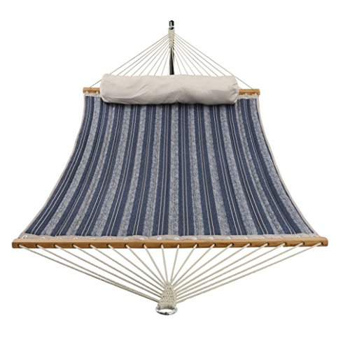 Patio Watcher 11 Feet Quilted Fabric Hammock with Pillow, Double Hammock with Bamboo Wood Spreader Bars, Perfect for Outdoor Patio Yard, Blue Stripes ()