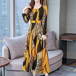 Casual Long Dress,Women Fashion Loose Maxi Lady O-Neck Knee Length Long Sleeve Leopard Print Dress