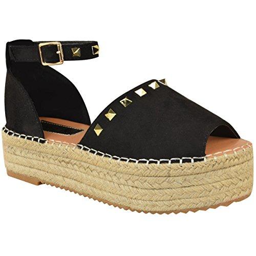 Fashion Thirsty Womens Flatforms Sandals Studded Summer Espadrille Platforms Shoes Size (Platform Fashion)