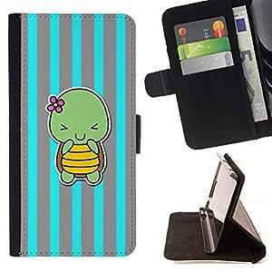 BullDog Case - FOR/Apple Iphone 5C / - / blue turtle cute cartoon grey lines /- Monedero de cuero de la PU Llevar cubierta de la caja con el ID Credit Card Slots Flip funda de cuer