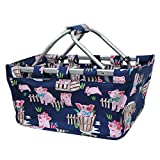 Happy Pig Town Print NGIL Canvas Shopping, Market, Picnic Basket