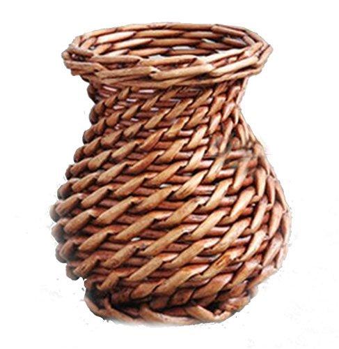TELLM Pure handmade basket Wicker rattan vases pots home decoration decorations flower arrangement flower basket Brown Big Belly