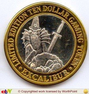 Strike Silver Token - $10 Silver Strike Token -- Excalibur Casino Las Vegas NV -- Circa 1990 -- .999 Silver!