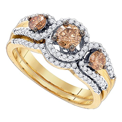 - 14k Yellow Gold Three Stone Brown Diamond Engagement Ring & Wedding Band Set Halo Bridal Rings Set 1 ctw Size 6.5