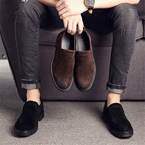 in Tacco degli Resistente Aderente di Affari Rilassato Shoes attrito al Nero Round Pattini Ammortizzatore Suola Block Gomma Toe Uomini Inglesi aF8xxqR