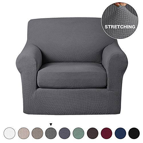 Arm Chair Polyester Cushion - Turquoize 2 Piece Chair Slipcovers with Elastic Bottom Gray Sofa Slipcover Sofa Cover Furniture Protector for Living Room Arm Chair Cover with Polyester Jacquard Small Check (Chair, Charcoal Gray)