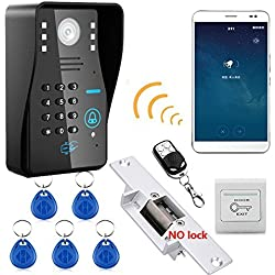 MOUNTAINONE Wireless WIFI RFID Password Video Door Phone Intercom System doorbell +Access Control System + NO Electric Strike Door Lock+wireless remote control unlock
