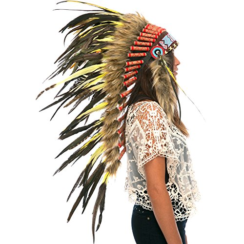 Long Feather Headdress- Native American Indian Inspired- Handmade by Artisan Halloween Costume for Men Women with Real Feathers - Yellow Rooster