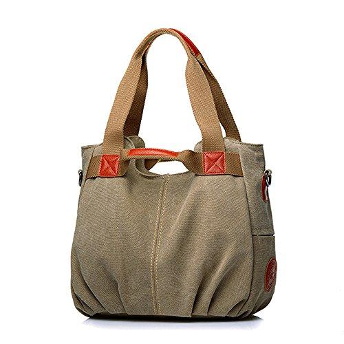 Khaki Embroidery Vintage Shoulder Vintage Handbag Women's Handle Hobo Canvas Tote Daily Purse Ladies Shopper Top Casual ZAq1dxrWAw