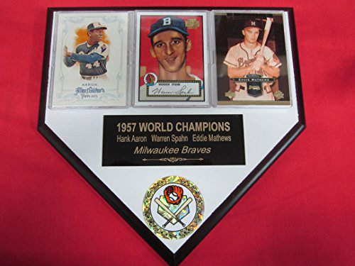 1957 Braves Hank Aaron Warren Spahn Eddie Mathews 3 Card Collector HOME PLATE Plaque EXCLUSIVE DESIGN to AMAZON!