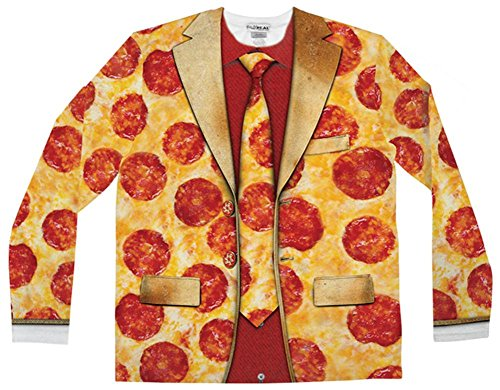 Men's Pizza Costume (Faux Real Men's Pizza Suit, Yellow, X-Large)