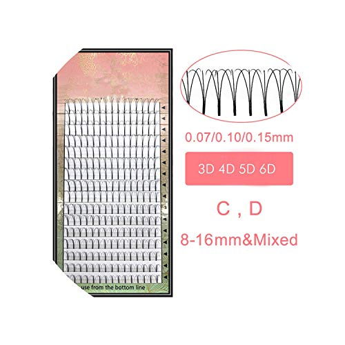 Lashes 16 Lines Premade Volume Fans 3d/4d/5d/6d Lash Russian Volume Eyelash Extensions Pre made Lash Extension Faux Mink,D,0.10mm,16mm,black 5d -