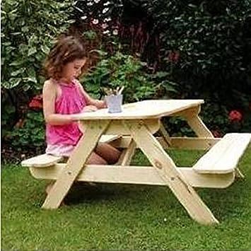Table de pique-nique/banc d\'extérieur terrasse/jardin en bois pour enfants