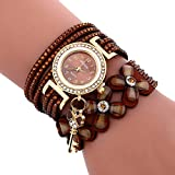 YaidaFashion Chimes Diamond Leather Bracelet Lady Womans Wrist Watch (Brown)