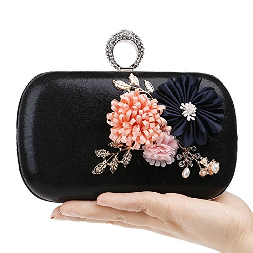 Evening Borsa a tracolla Semplice bag a mano Borsa a mano borsa Borsa con fiori Black tracolla a Clutch wrFnErqI