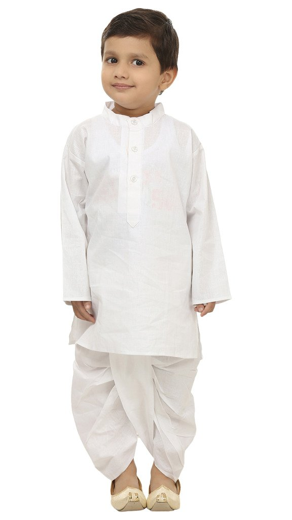 Focil Bollywood Style White Solid Kurta & Dhoti Pant Set For Kids