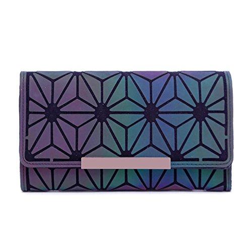 (Magibag Women Geometric Rhomboids Lattice Wallet Iridescent Purse Long Coin Purse Clutch Cell Phone Case (Trifold-Flower))