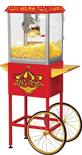 Northern Trail BW860CR Big Top Carnival Style Electric Popcorn Machine with Cart and 8 oz Kettle, Red by Northern Trail