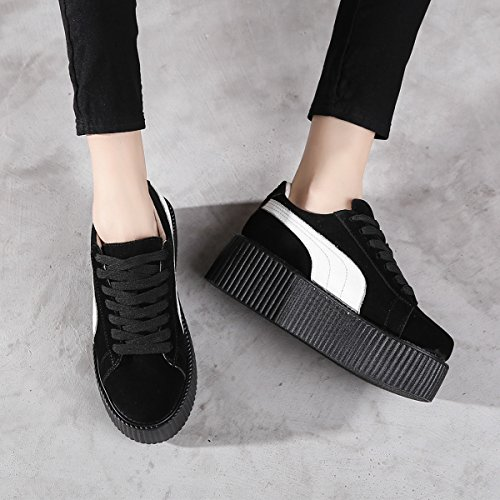 Platforme Punk Cuir Chaussures Baskets Creepers Lacets Femmes RoseG p7nwqP1UEx